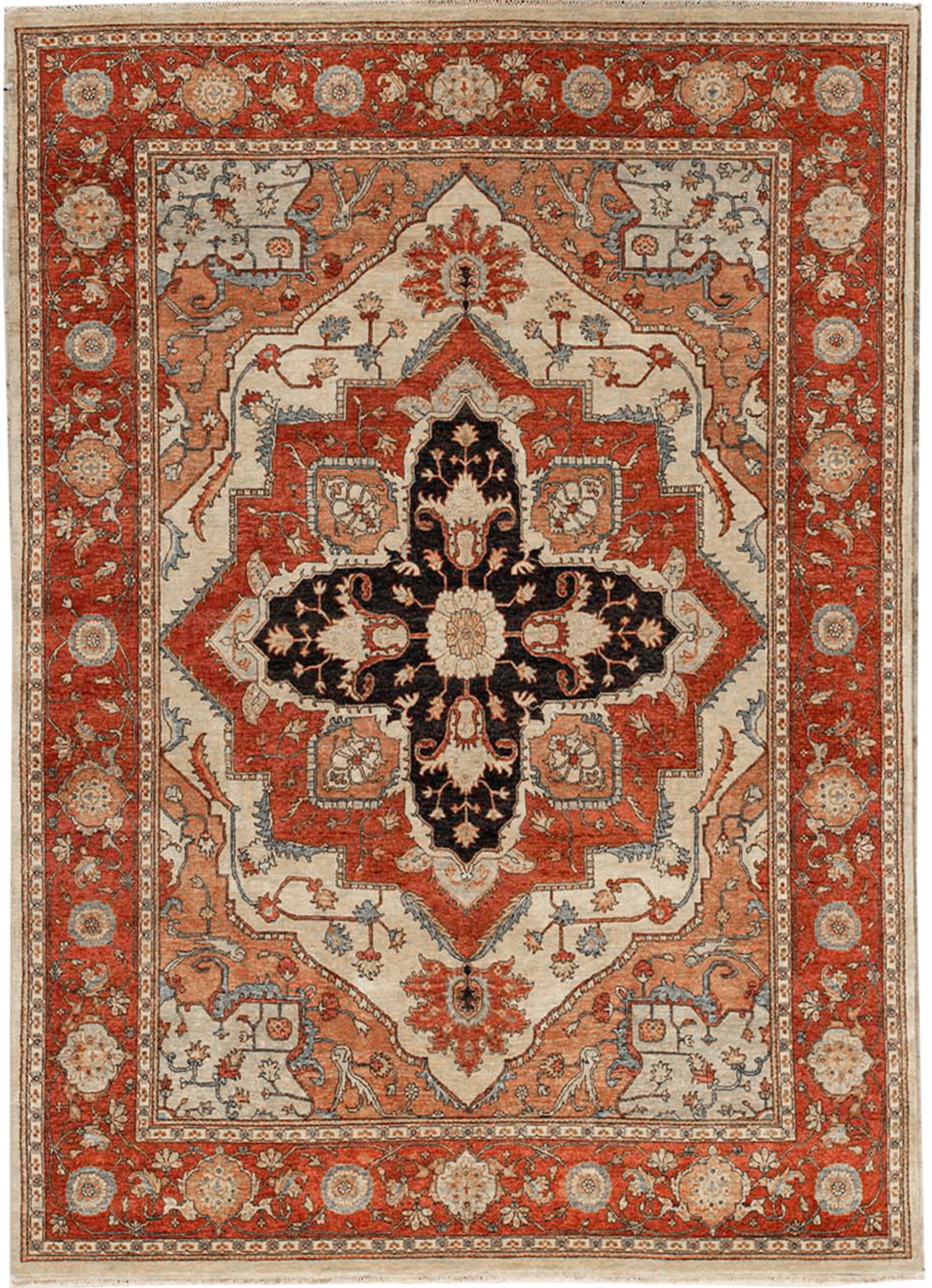 Bokara Rug Co Inc Oriental Hand Knotted Wool Ivory Rust Area Rug Wayfair