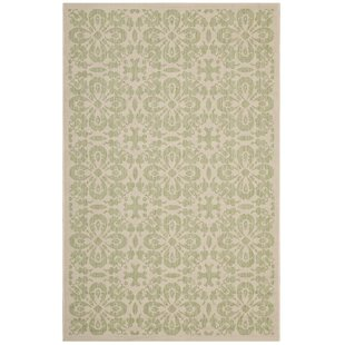 Herzberg Vintage Floral Trellis Beige Indoor/Outdoor Area Rug by Charlton Home