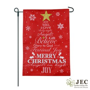 Christmas Tree Typography 2-Sided Burlap 1'6 X 1'0.5 Ft. Garden Flag by JEC Home Goods