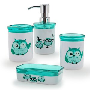 Kid's Owl 4-Piece Bathroom Accessory Set