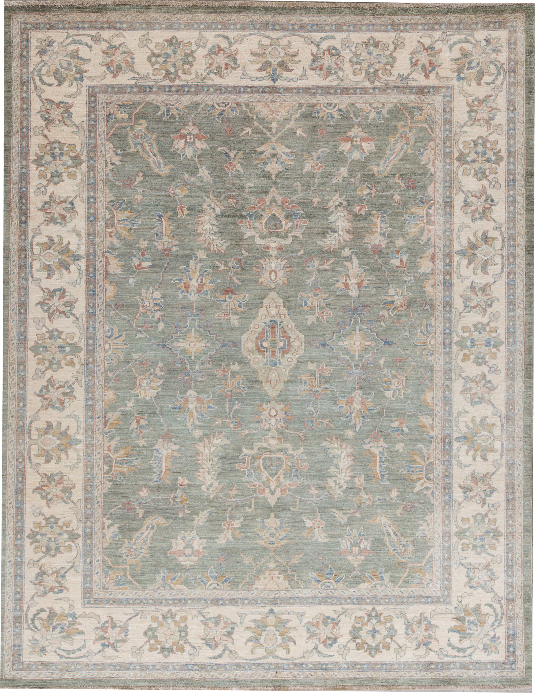 Bokara Rug Co Inc Zarbof Oriental Hand Knotted Wool Green Area Rug Wayfair
