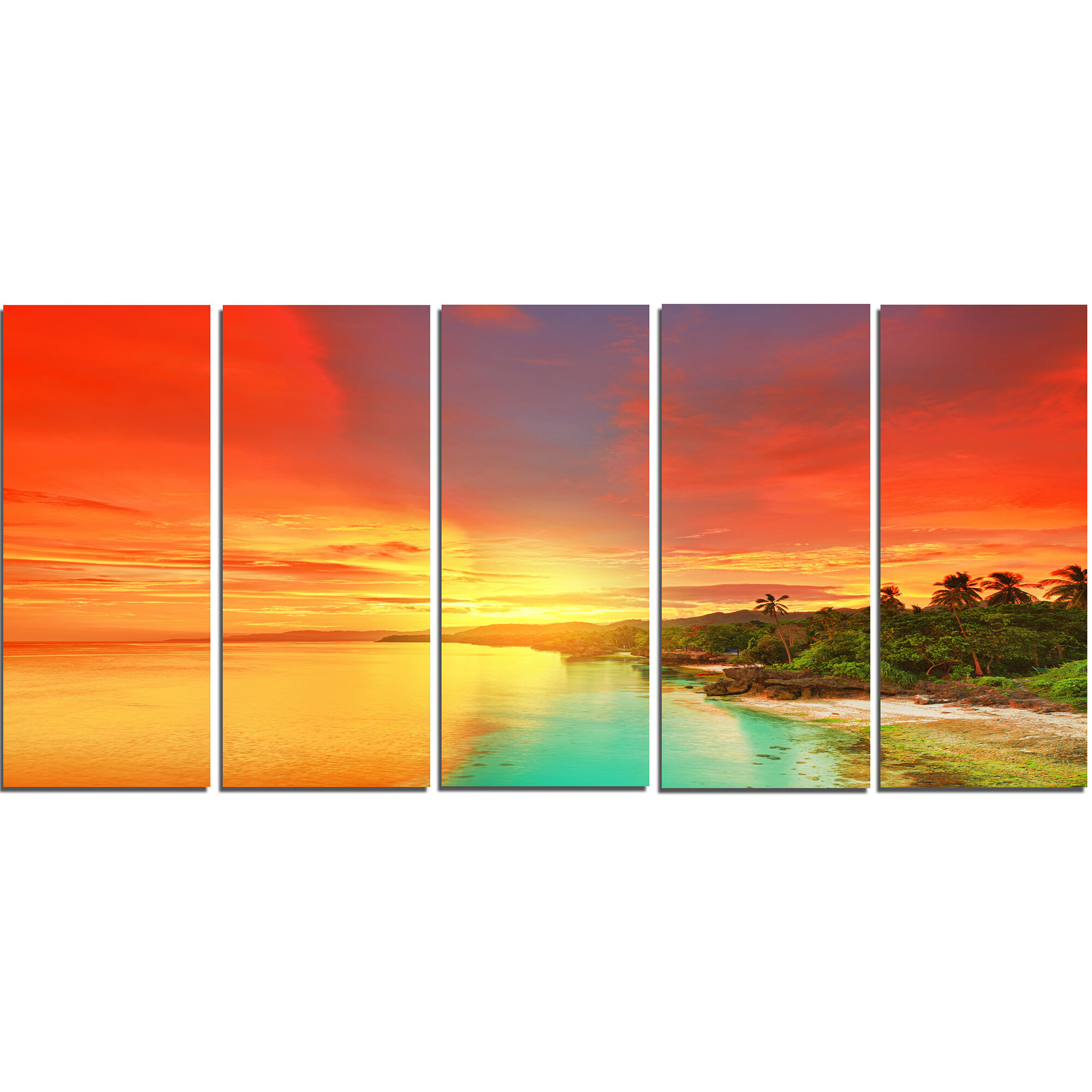 Designart Beautiful Coastline In Philippines 5 Piece Wall Art On Wrapped Canvas Set Wayfair
