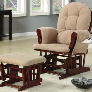 Caffee Chicly Elegant Manual Glider Recliner with Ottoman