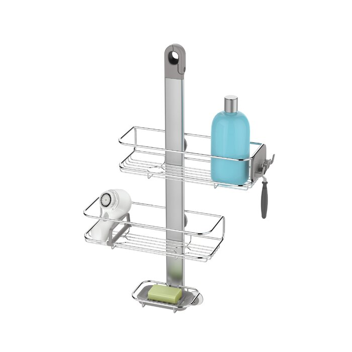 stainless shower anodized caddy pdp home simplehuman steel aluminum improvement adjustable