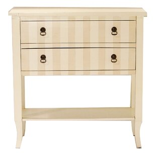Heirloom Beige/Cr?me Stripe 2 Drawer Accent Chest by Heather Ann Creations