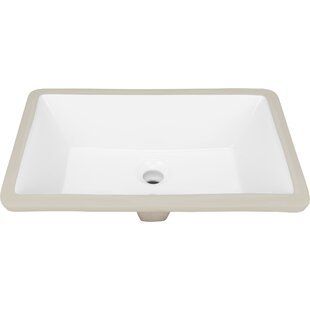 Ticor Sinks Belfast Series Vitreous China Rectangular Undermount Bathroom Sink with Overflow
