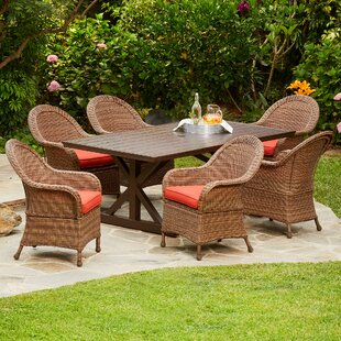 One Allium Way Acree Hacienda Heights 7 Piece Dining Set with Cushions
