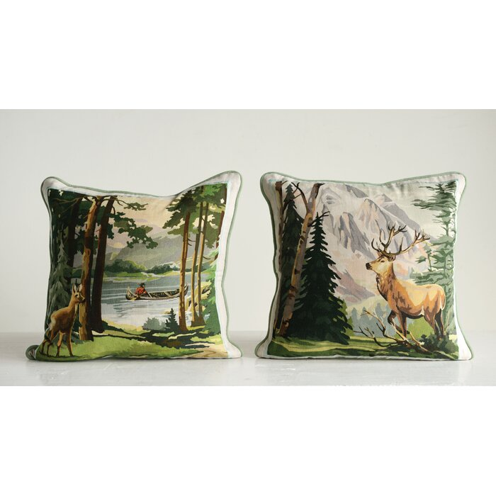 Tremendous Weissman 2 Piece Deer And Landscape Cotton Throw Pillow Set Inzonedesignstudio Interior Chair Design Inzonedesignstudiocom