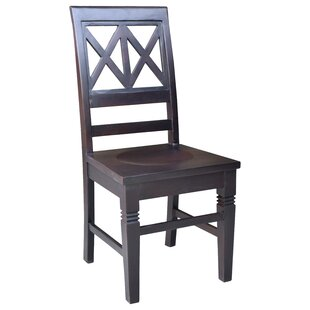 Barbay Double Cross Solid Wood Dining Chair (Set of 2) Loon Peak