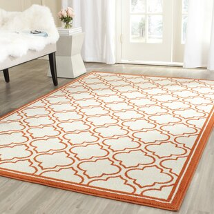 Maritza Power Loomed Ivory / Orange Indoor/Outdoor Area Rug