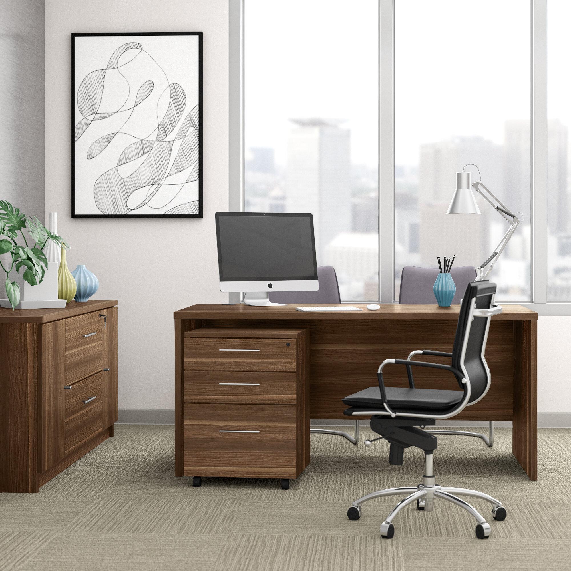 Upper Square Marta 3 Piece Rectangular Executive Desk Office Set Wayfair