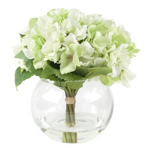 Hydrangea Arrangement in Glass Vase