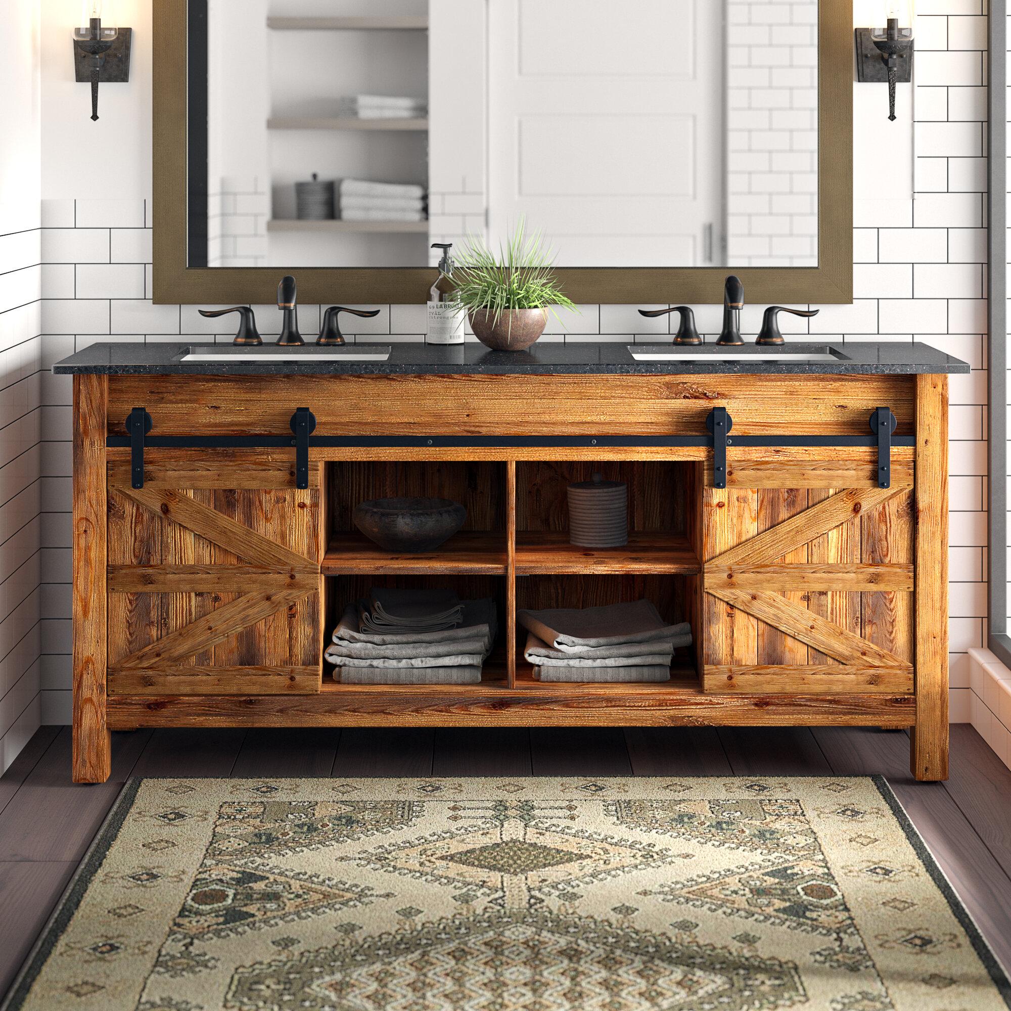 Millwood Pines Estancia Barn Door 72 Double Bathroom Vanity Set Reviews Wayfair