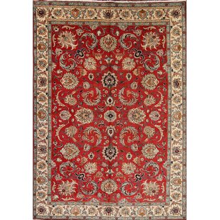 One-of-a-Kind Mccool Tabriz Vintage Persian Hand-Knotted 9'2 x 12'11 Wool Burgundy Area Rug by Isabelline