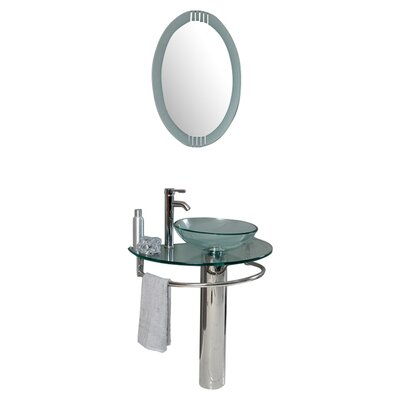 "30 Bathroom Pedestal Vanity Glass Vessel Sink Set fresca vetro 18"" single cristallino modern bathroom vanity set"