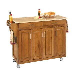 Stroman Kitchen Island with Natural Wood by August Grove