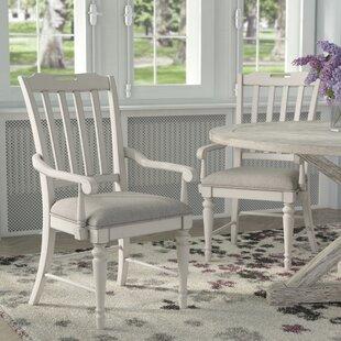 Ornithogale Slat Back Arm Chair (Set of 2) Lark Manor