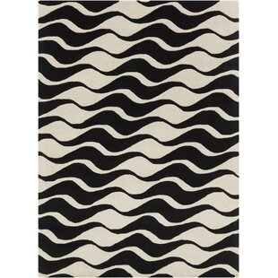 Budget Arae Abstract Beige/Black Area Rug By Latitude Run
