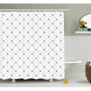 Kavanagh Fleur De Lis Shabby Elegance Damask Pattern With Vintage Kitsch Geometric Diamond Lines Shower Curtain By Wrought Studio