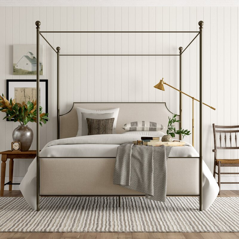 Low Profile Upholstered Canopy Bed- come explore coastal cottage bedroom ideas with furniture and decor resources on Hello Lovely!