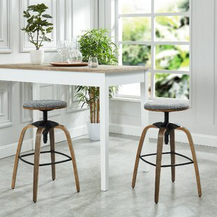 Auld Adjustable Height Swivel Bar Stool (Set Of 2) by Williston Forge Modern