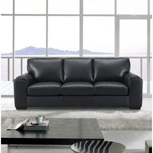 Tennie Craft Leather Sofa by Three Posts