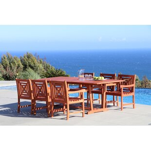 Beachcrest Home Monterry 7 Piece Solid Wood Dining Set