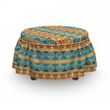 Folk Motifs Strips Ottoman Slipcover (Set of 2) by East Urban Home