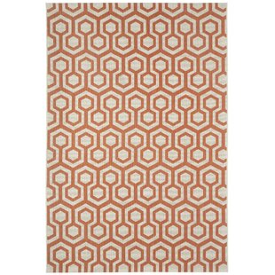 Malle Cinnamon Orange Honeycombs Indoor/Outdoor Area Rug