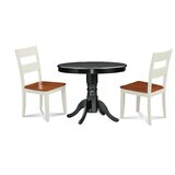 Montevia Elegant 3 Piece Rubber Solid Wood Dining Set by Andover Mills™