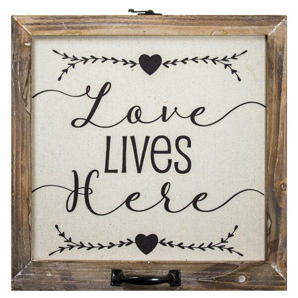 Gracie Oaks Love Lives Here Wood Framed Inspirational Canvas Sign Farmhouse Wall Décor Reviews Wayfair