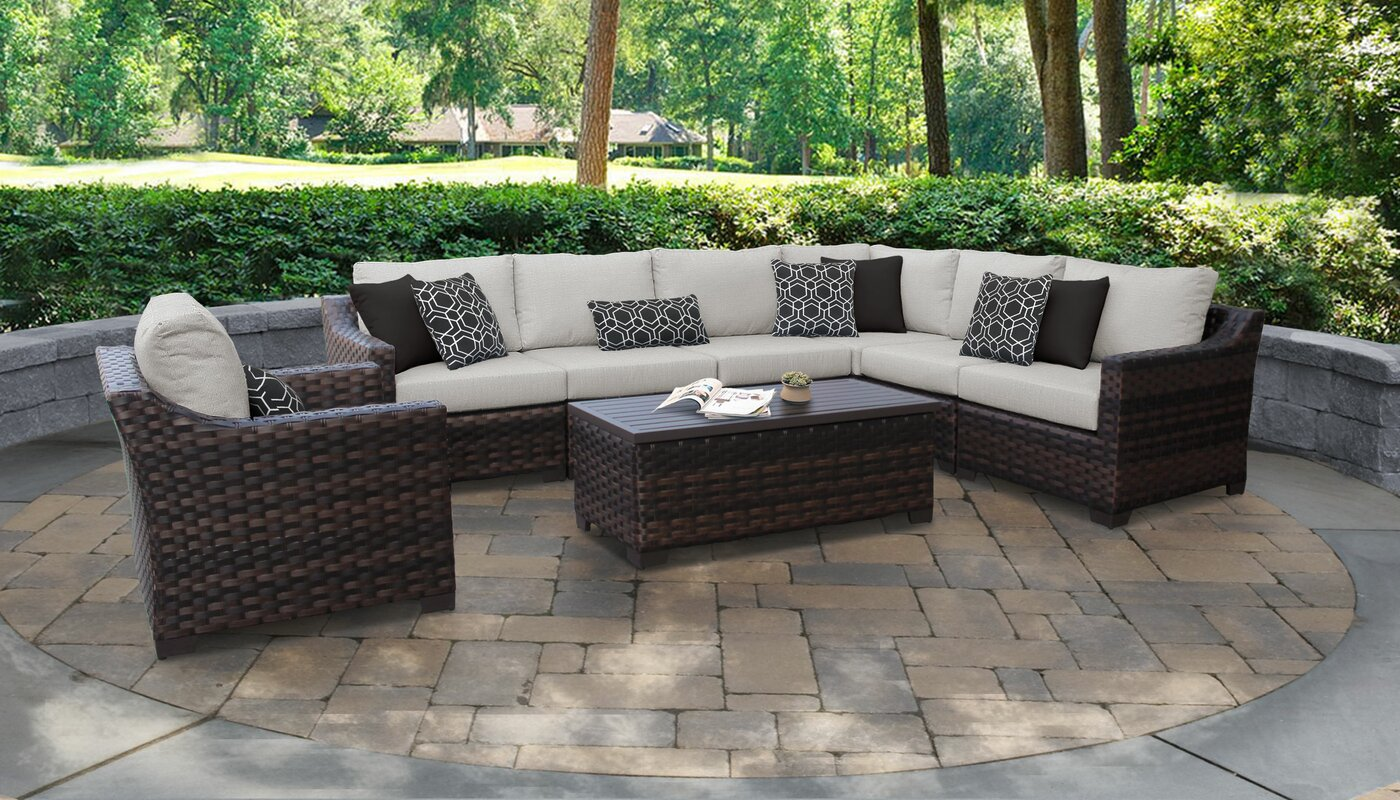 kathy ireland Homes & Gardens by TK Classics River Brook 8 Piece Rattan Sectional Seating Group with Cushions