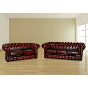 Othello Chesterfield 2 Piece Leather Sofa Set By Williston Forge