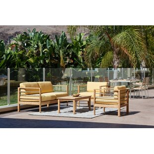 Crisfield 4 Piece Teak Sunbrella Sofa Set with Cushions By Rosecliff Heights