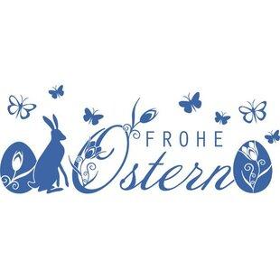 Frohe Ostern, Butterflies, Rabbit Wall Sticker By East Urban Home