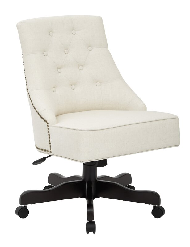inspiredbassett rebecca tufted mid-back fabric desk chair