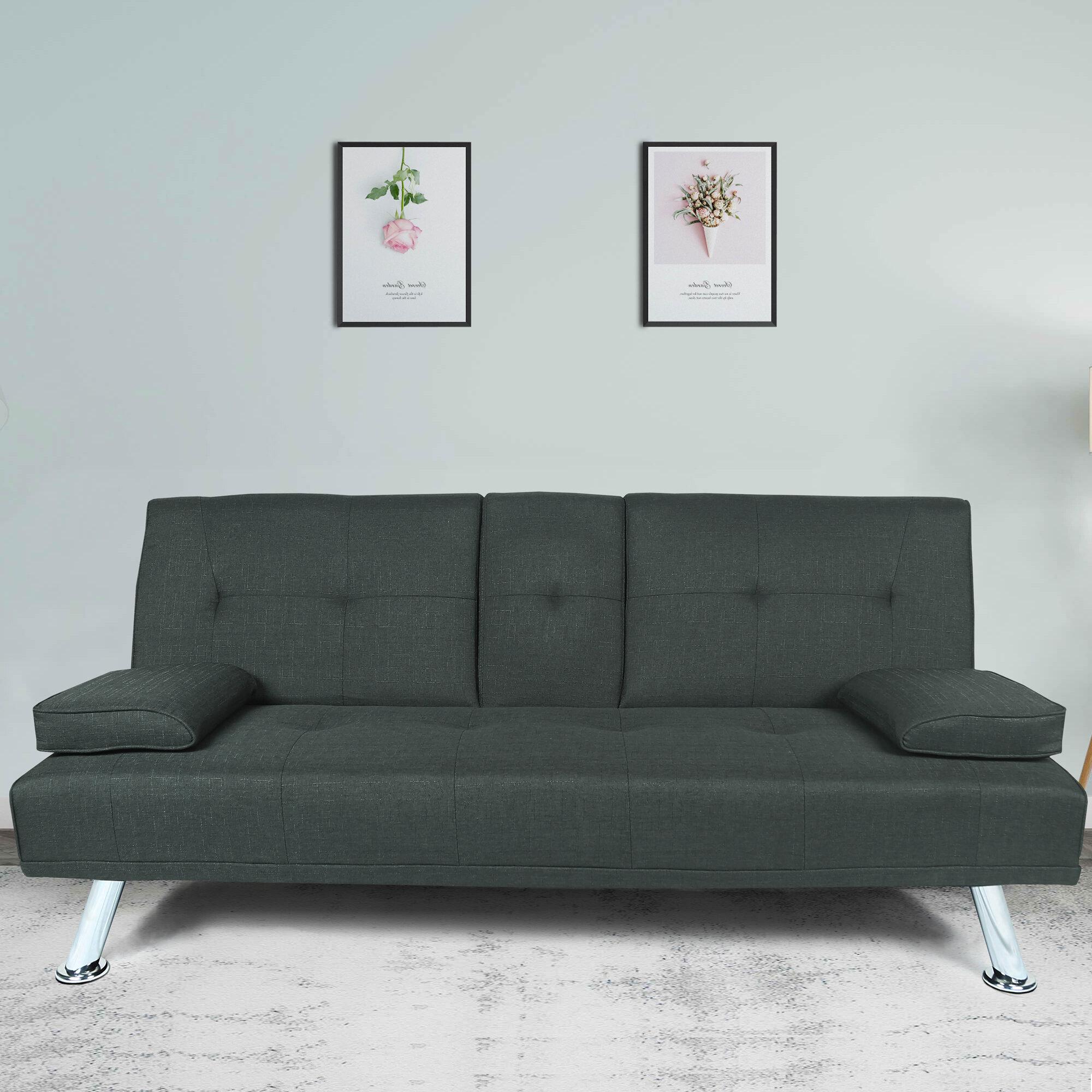 Brayden Studio Perrigo Twin Or Smaller Tufted Back Convertible Sofa Reviews Wayfair