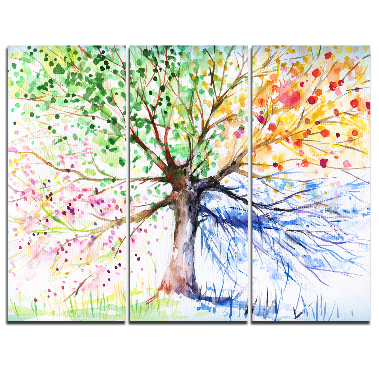 Winston Porter Four Seasons Tree 3 Piece Graphic Art On Wrapped Canvas Set Reviews Wayfair