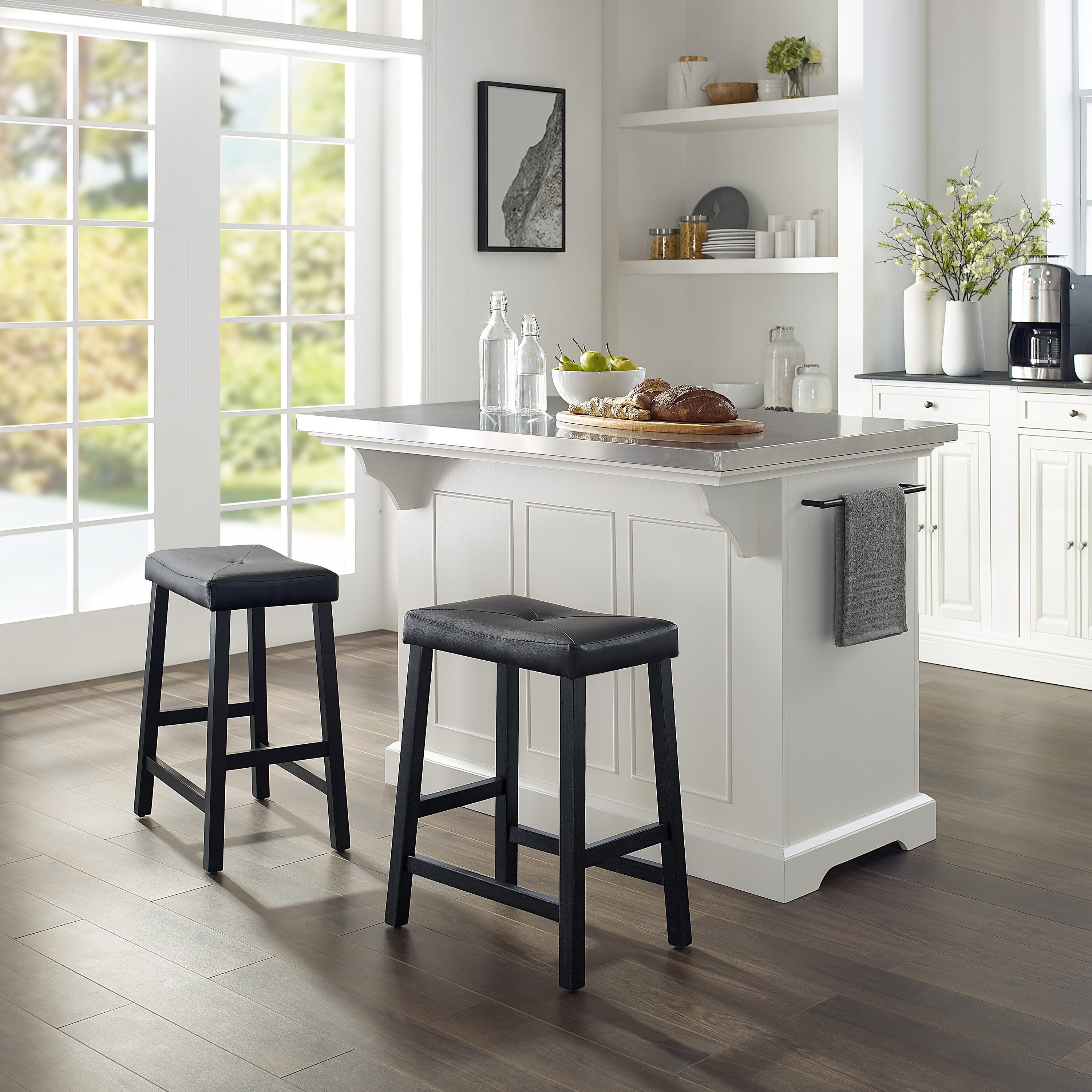Gael Kitchen Island Set with Stainless Steel Top