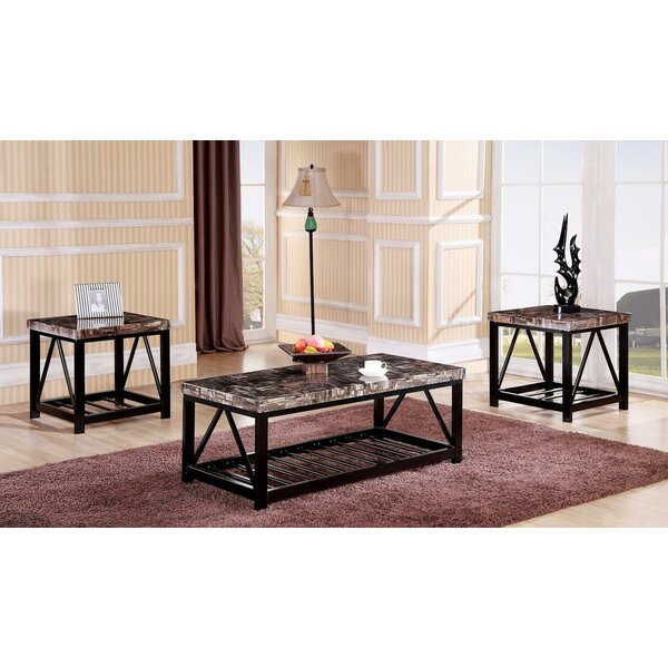 Red Barrel Studio Rosalin Faux Marble Metal Frame 3 Piece Coffee Table Set  | Wayfair