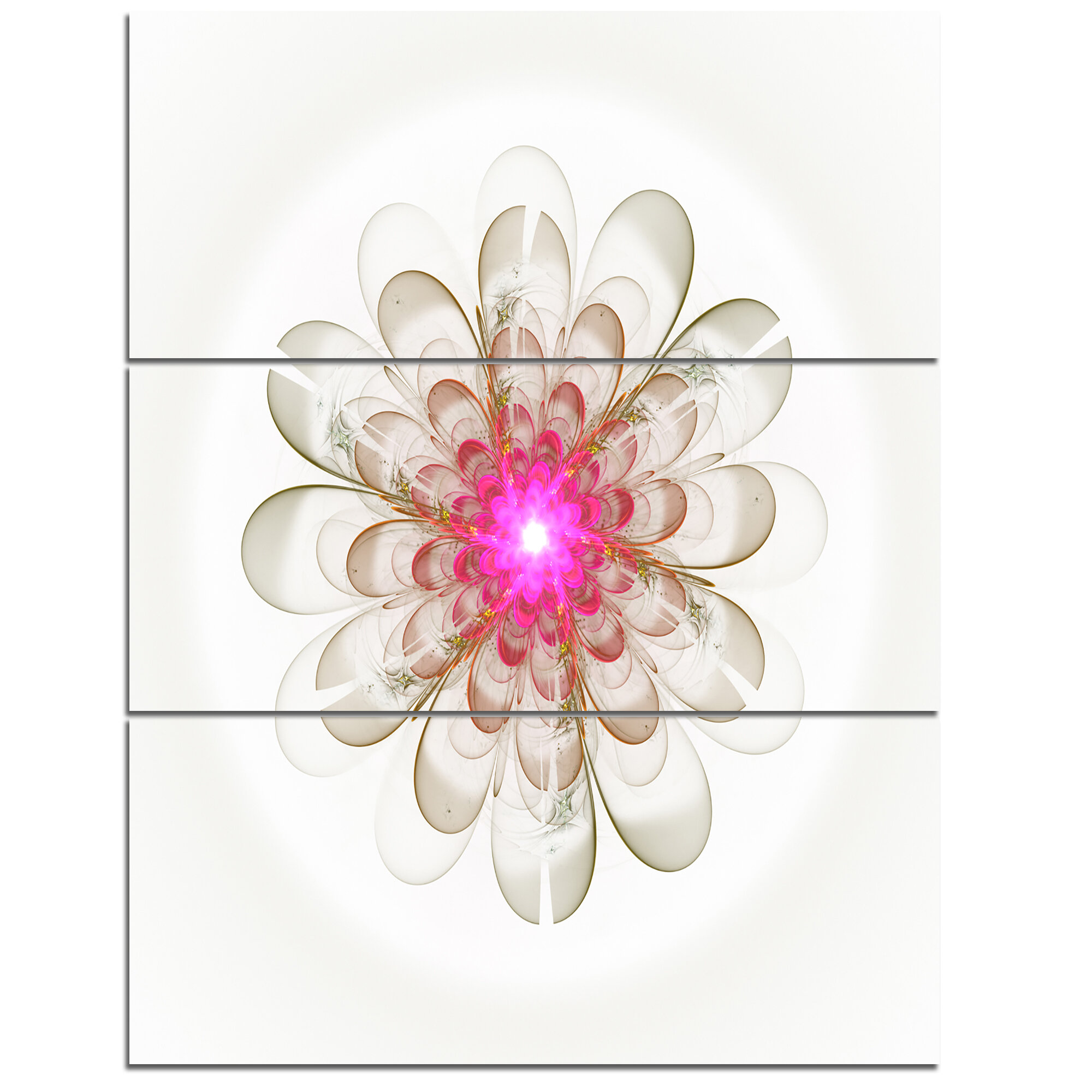 Designart Simple White Pink Fractal Flower Art 3 Piece Graphic Art On Wrapped Canvas Set Wayfair
