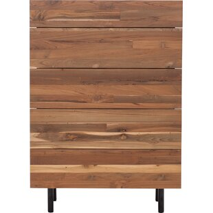EQ3 Teak 5 Drawer Chest