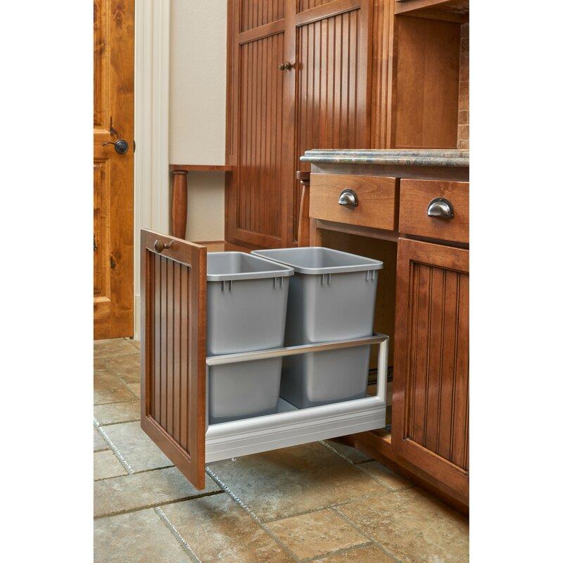 Rev A Shelf Aluminum 6 75 Gallon Pull Out Trash Can Reviews Wayfair
