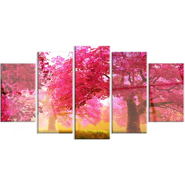 designart mysterious red cherry blossoms 5 piece photographic