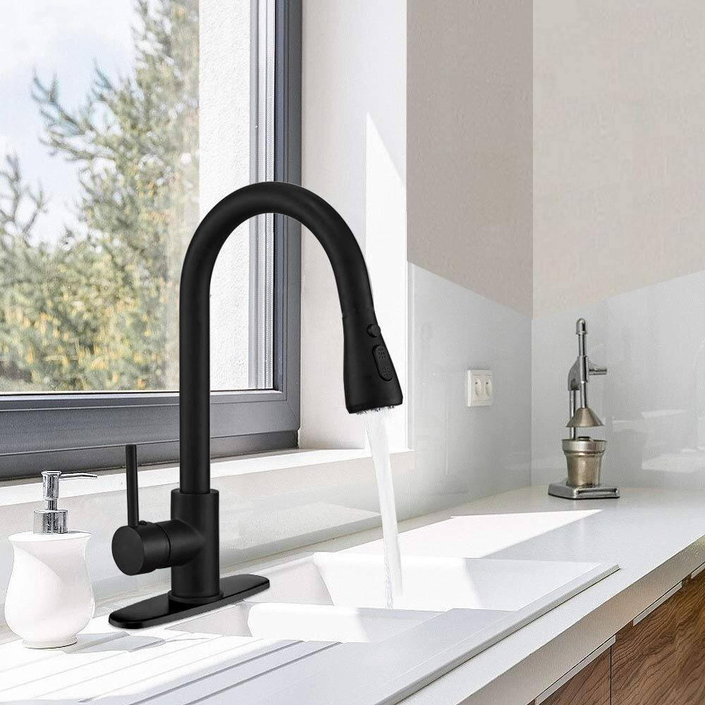 Renist Pull Down Single Handle Kitchen Faucet With Side Spray Reviews Wayfair