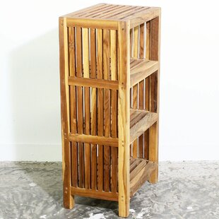 Odegaard Teak Cabinet with Shelves Standard Bookcase by Loon Peak