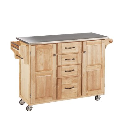 Adelle-a-Cart Kitchen Island with Stainless Steel Top Base Color: Natural by August Grove