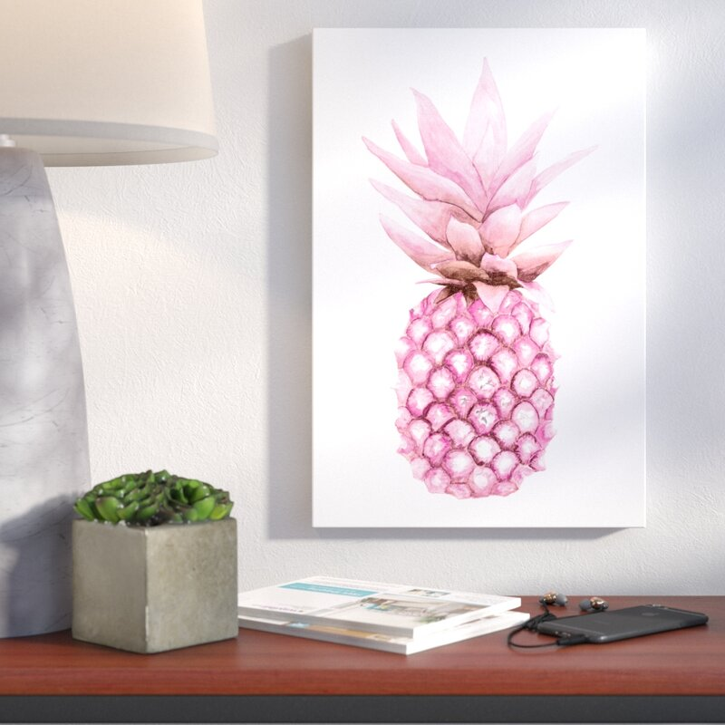 Pretty Pineapple Wall Art - 'Watercolor Pink Pineapple' Painting Print on Canvas