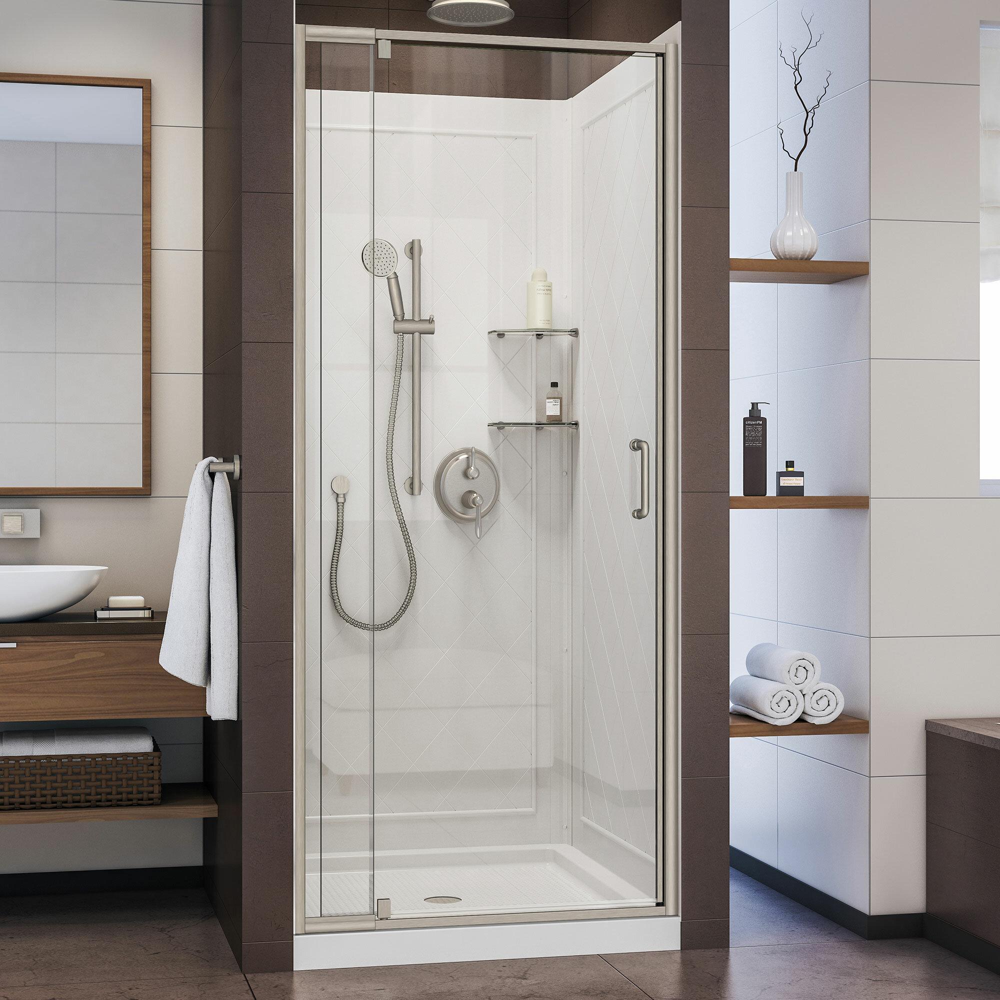 Dreamline Flex 32 X 76 75 Square Pivot Shower Enclosure With Base Included Wayfair