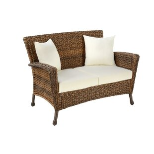 Oph?lie Outdoor Faux Sea Grass Garden Patio Loveseat with Cushion by One Allium Way
